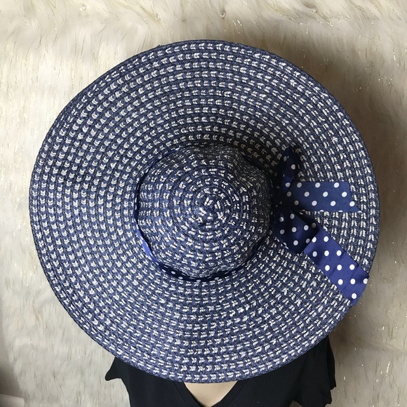Navy Blue Straw Summer Hat With Ribbon Details NWT cb8339e4031a